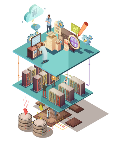 electronic: Data analysis isometric concept with electronic equipment information exchange server infrastructure cloud services and staff vector illustration Illustration