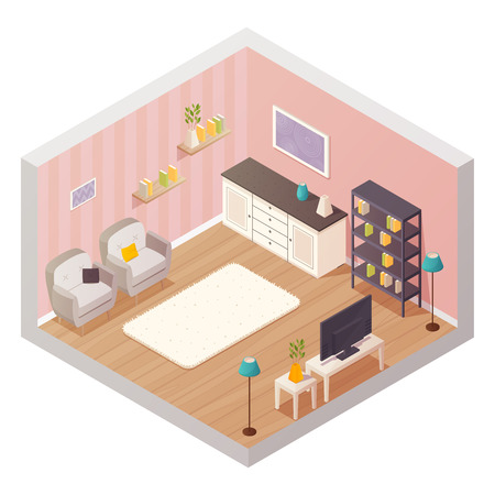 Isometric living room interior design composition with cartoon icons of furniture items shelves and plants materials vector illustration