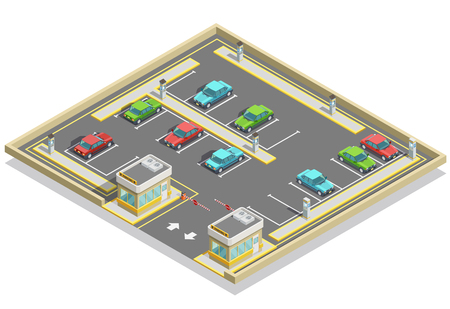 Parking zone isometric location with colorful cars many lots and access control vector illustration Stock Illustratie