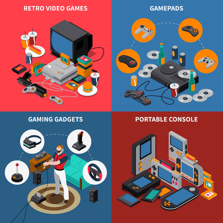 portable console: Entertainment isometric concept with electronic devices virtual reality equipment and player vector illustration