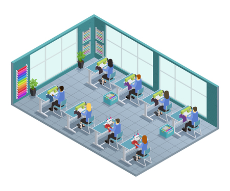 garment: 3d garment factory isometric composition with workshop on tailoring in the factory vector illustration