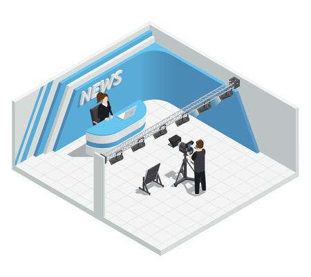 studio lighting: Isometric interior composition with video tv live news broadcast studio lighting kit camera host cameraman characters vector illustration