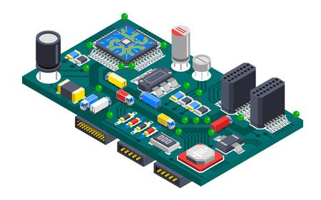 carte de circuit électronique semi-conducteur composition isométrique avec des puces de silicium et des camions de transport circulant sur les pistes fil Illustrations