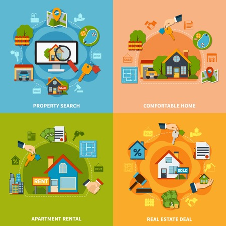 apartment search: Real estate 2x2 design concept with property search and apartment rental icons on colorful backgrounds flat isolated vector illustration