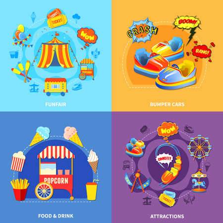 theme: Circus amusement park 4 flat icons square composition abstract isolated vector illustration Illustration