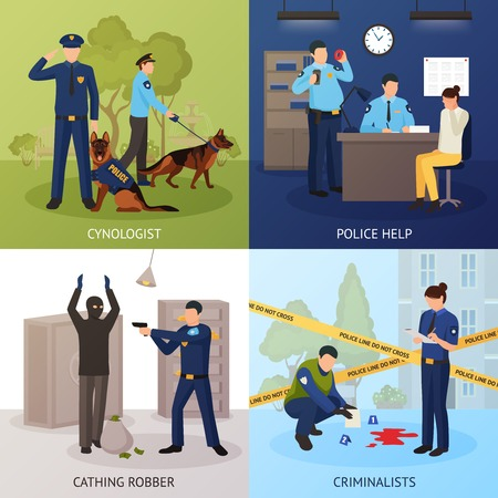 Police officers work 4 flat icons square with bank robber seizure and crime scene investigation isolated vector illustration Vector Illustration