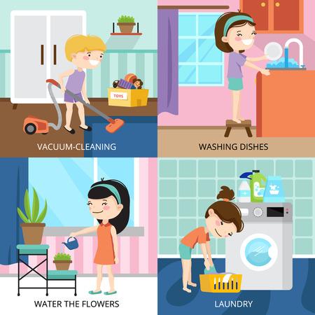 子供たちの家の掃除とカラフルな漫画 2 x 2 デザイン コンセプト分離ベクトル図
