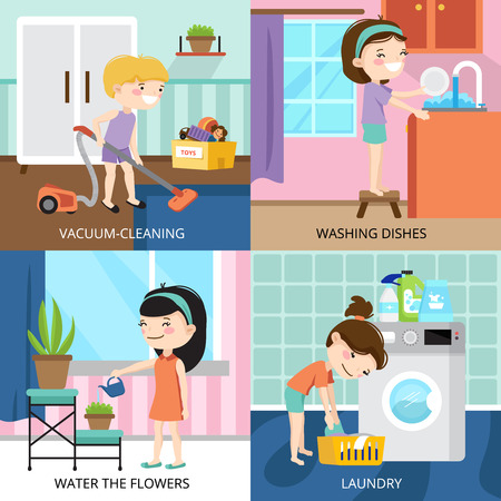Kleurrijke cartoon 2x2 ontwerp concept met kinderen schoonmaken huis geïsoleerde vector illustratie