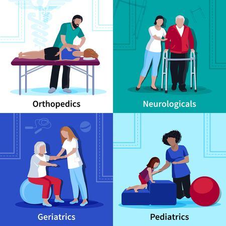 Fysiotherapie voor geriatrische patiënten met neurologische aandoeningen en kinderen 4 vlakke pictogrammen vierkante geïsoleerde vector illustratie