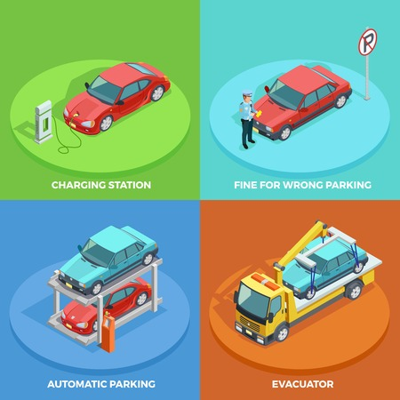 Parking isometric collection with cars stopped in right and wrong positions vector illustration
