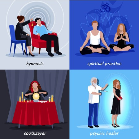 psychic: Four square hypnotism extrasensory icon set with spiritual practice soothsayer physic healer descriptions vector illustration