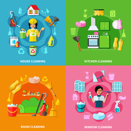 square image: Four colorful square backgrounds with image compositions of cleaning facilities washing agents characters doodle style icons vector illustration
