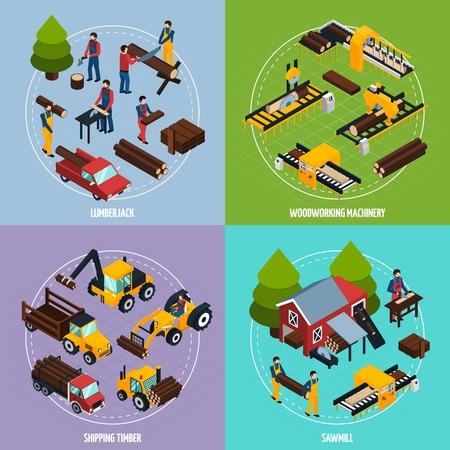 Insieme di concetto di progetto della segheria 2x2 di legname funzionante del legname e dell'illustrazione isometrica di vettore delle composizioni quadrate delle macchine per la lavorazione del legname e di falegnameria