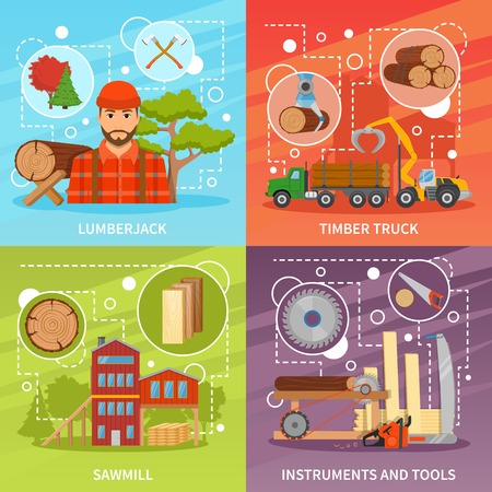 Four sawmill timber flat compositions set with lumberjack character sawmill building trucks tools and decorative symbols vector illustration