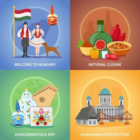 국가 요리 의상 아키텍처 및 헝가리어 민속 예술 이미지 벡터 일러스트와 함께 설정하는 4 개의 헝가리 평면 광장 작곡
