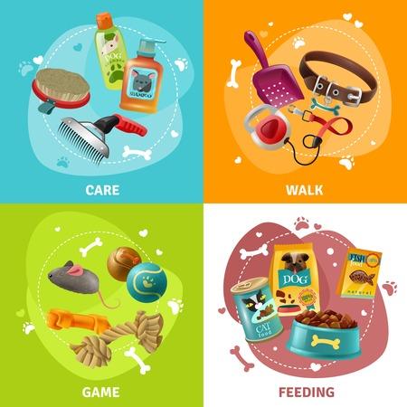 Betaalbare pet care center service concept met het verzorgen van het spelen en het voeden van 4 kleurrijke pictogrammen vierkante geïsoleerde vector illustratie
