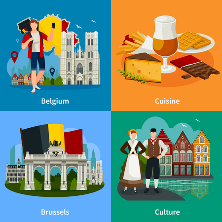 Travel concept in flat style with belgian landmarks including cuisine culture and brussel isolated vector illustration