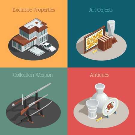 valuable: Four auction compositions set with isometric images of valuable collections and antique goods with text captions vector illustration