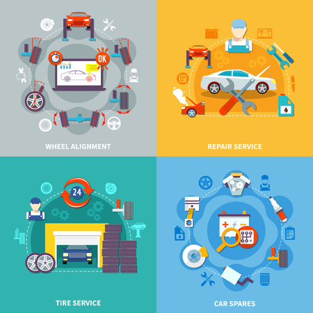 centering: Auto service 2x2 design concept with tire service wheel alignment repair service  and car spares compositions flat vector illustration