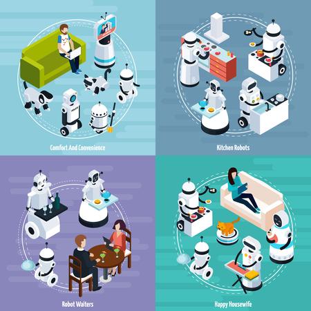 掃除洗濯料理ウェイター関数ベクトル図のキッチンと主婦のホーム ロボット 2 x 2 等尺性デザイン コンセプト