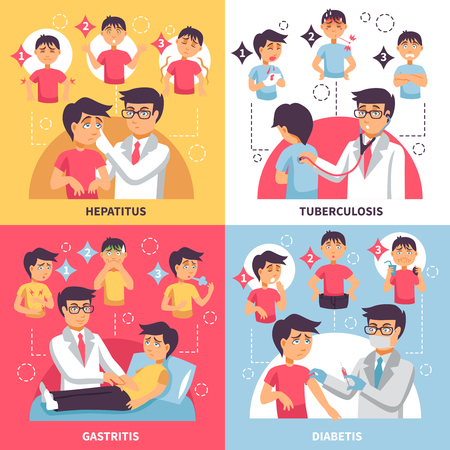 Illnesses design concept with four square compositions funny boy and doctor characters with infographic symptomatic images vector illustration Illustration