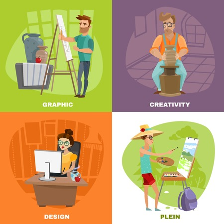 creative artist: Creative artist designer work concept 2 colorful background icons square with landscape painter and sculptor isolated vector illustration
