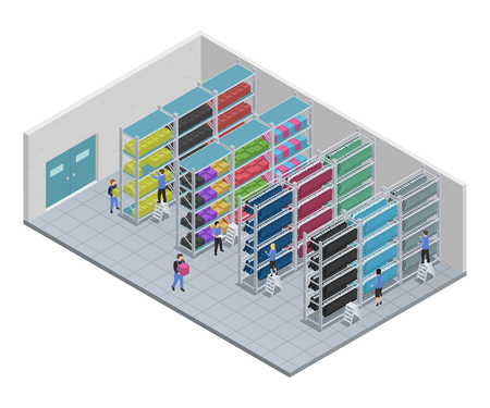 Colored clothes sewing isometric composition with people who work at a factory vector illustration Vektorové ilustrace