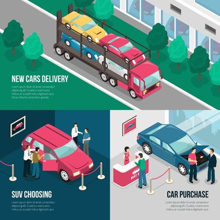 dealership: Colored car dealership leasing design concept set with new cars delivery suv choosing car purchase descriptions vector illustration