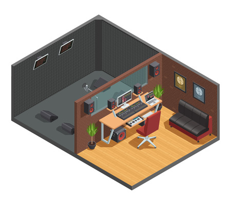 Music studio isometric interior composition with vocal recording soundproofed cabin joint with mixing room with furniture vector illustration
