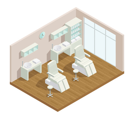 Cosmetology beauty salon isometric interior composition with window closet furniture shelves and two hydraulic facial beds vector illustration
