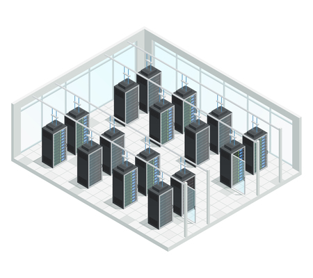 network server: Datacenter server cloud computing isometric interior composition with group of server racks filled with network connected hardware vector illustration