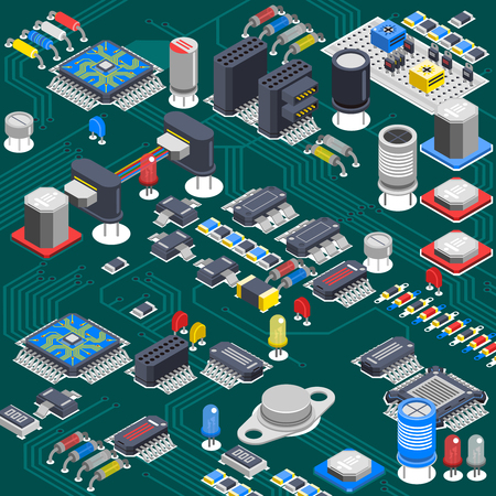 electrolytic: Semiconductor electronic circuit board isometric background with electrolytic capacitors processors and various microcomponents installed on backboard vector illustration