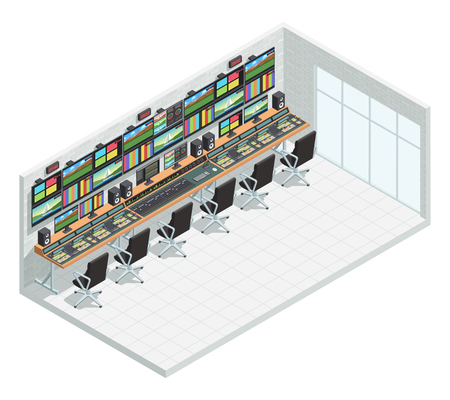 broadcast: Video tv broadcast studio isometric interior composition with television production facility control room equipment and chairs vector illustration Stock Photo