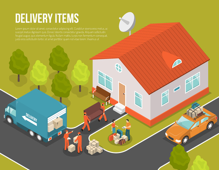 delivery package: Colored isometric delivery moving new settler illustration with truck near house and loaders hired to move vector illustration Stock Photo
