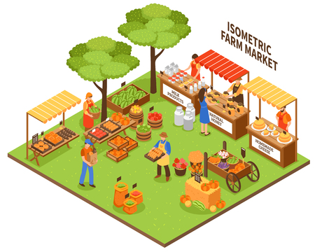 Local growing outdoor funfair market isometric composition with farmer greengrocer characters selling natural organic food products vector illustration Illustration