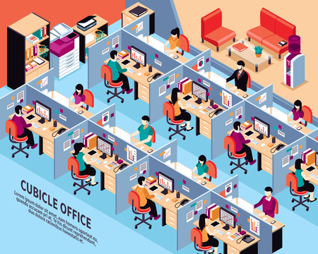 cubicle: Office workplace isometric vector illustration with men and women working in cubicles at their desks vector illustration
