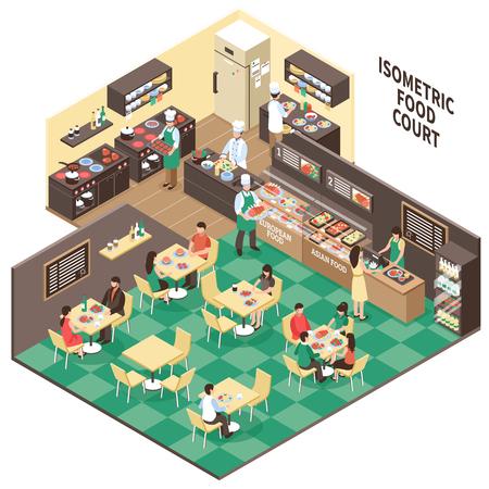 Comestibles composición de la corte con el interior isométrico de restaurante asiático europeo habitaciones visitantes y cocina con ilustración vectorial de personas