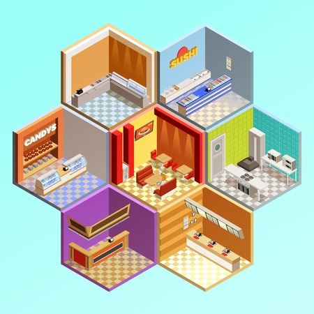 restaurant food: Food court composition with seven isometric cafe restaurant room interiors in tesselar pattern candys sushi bar vector illustration