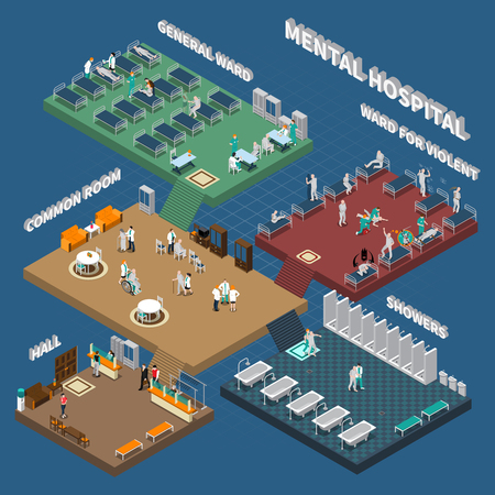 multistory: Multistory mental hospital isometric interior with people in hall wards and showers on blue background vector illustration