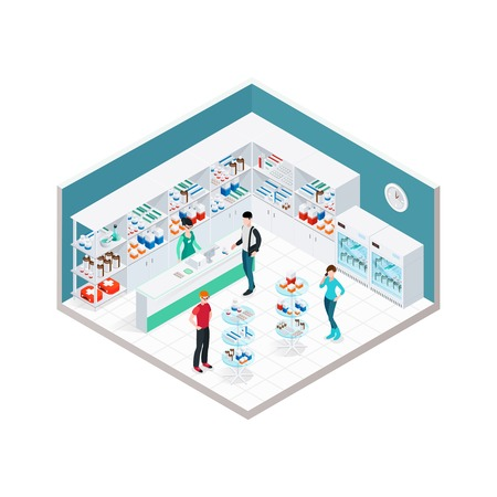 pharmacy store: Pharmacy interior isometric composition with indoor apothecary counter shopboards and faceless characters of customers and druggist vector illustration