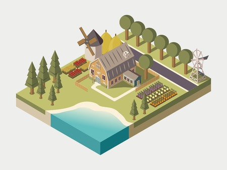 cultivated land: Farmhouse with track windmill garden beds and trees stacks of hay lake and road isometric vector illustration Illustration