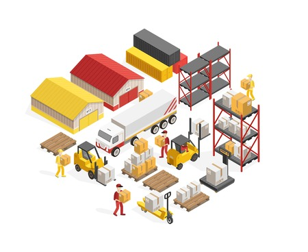 Warehouse logistics isometric concept with storage buildings and containers freight and employees forklifts and truck vector illustration Illustration