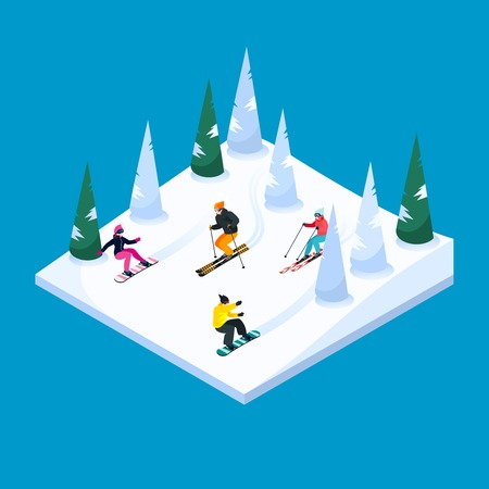 Skiing hill square isometric scenery element with colorful skiers and snowboarders figures snow terrain and trees vector illustration Illustration