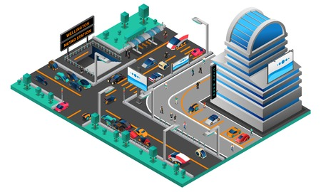 cars on road: Futuristic cityscape isometric composition with building cars of new generation road and metro station vector illustration Illustration