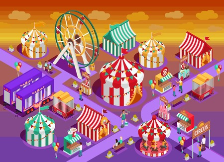 Amusement park circus attractions isometric poster with classic striped tents and observation wheel late evening vector illustration