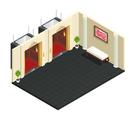 luxury furniture: Elevator hall isometric interior composition with two lift lobby of hotel luxury style adornments and furniture vector illustration Stock Photo