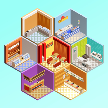 cafe food: Food court composition with seven isometric cafe restaurant room interiors in tesselar pattern candys sushi bar vector illustration