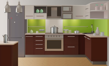 fully: Colored kitchen interior fully equipped in modern style with green color and wooden doors vector illustration