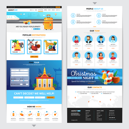 travel destination: Travel agency web page design with popular destination symbols flat isolated