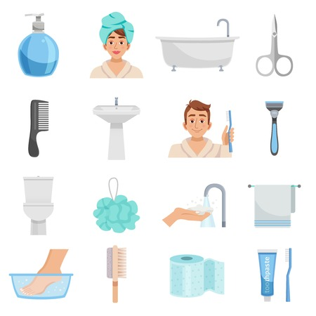 bast: Hygiene isolated elements set with sixteen icons of towels bast wisp combs scissors and various toiletry vector illustration